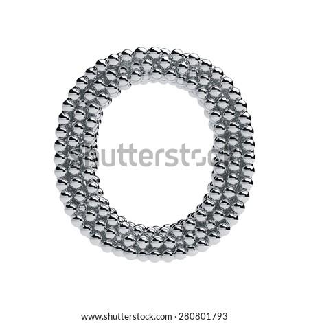 3d render of metallic spheres alphabet letter symbol - O. Isolated on white background - stock photo