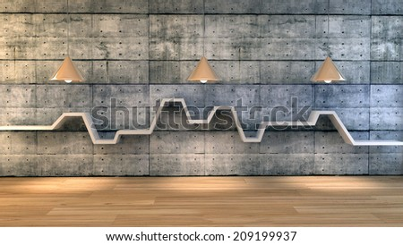 3d render of minimalist shelf over dramatic concrete background, modern art minimalist gallery concept. - stock photo