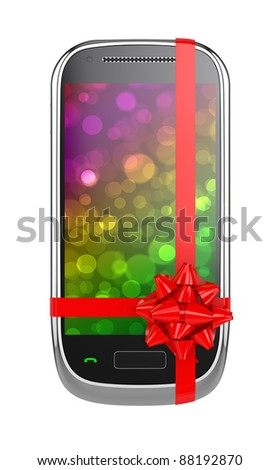 3d render of mobile phone with red ribbon and bow - stock photo