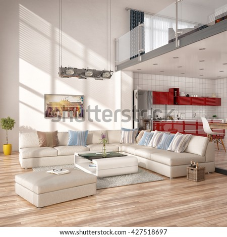 3d render of modern loft with living room , lounge, kitchen. - stock photo
