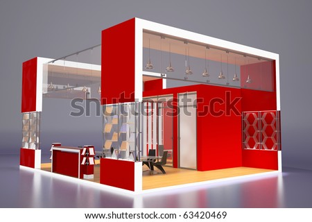 3d render of modern red exhibition stand - stock photo