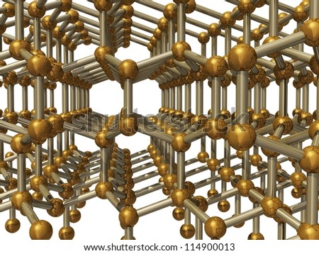 3d render of molecular structure of lonsdaleite - stock photo