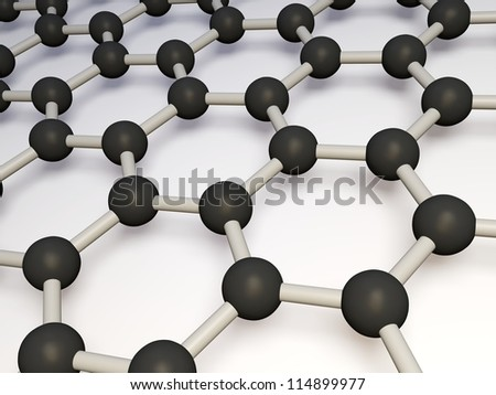 3d render of molecular structure of molybdenum disulphide isolated on a white background - stock photo