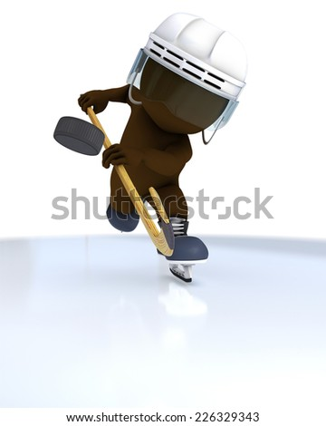 3D Render of Morph Man swinging an axe - stock photo