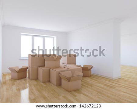 3d render of moving boxes in empty room - stock photo