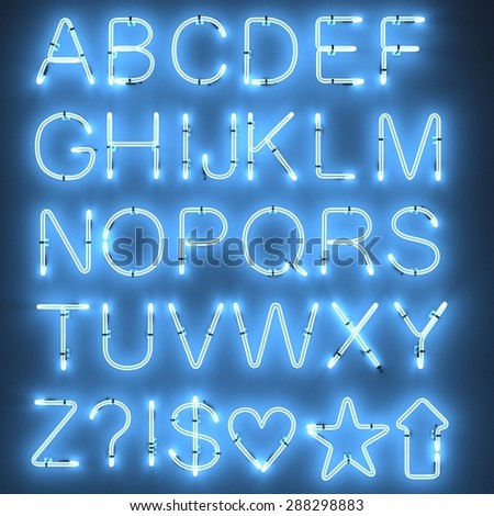 3d render of neon lights - alphabet - stock photo