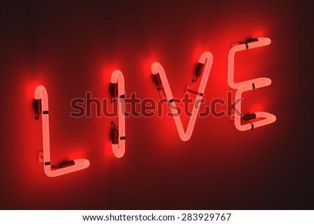 3d render of neon lights - live - stock photo