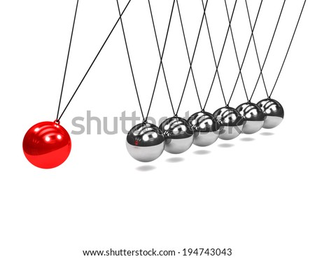 3d render of Newtons cradle with red ball striking - stock photo