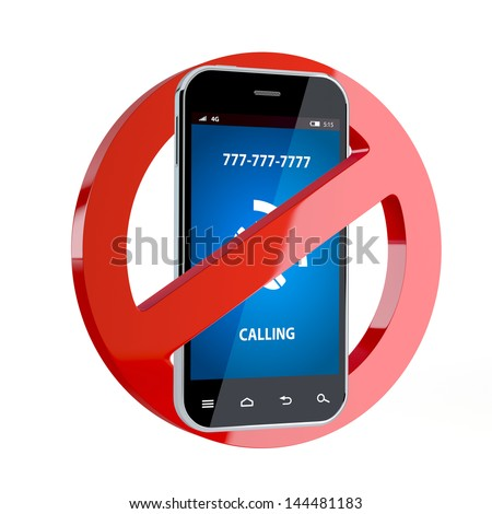 3d render of no cell phone sign isolated on white background - stock photo