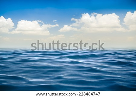 3d render of ocean and beautiful blue sky - stock photo