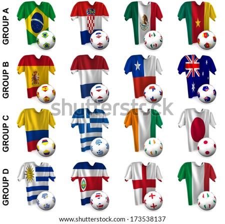 3D render of 16 of the world's greatest soccer nations competing in 2014. Part 1 of 2. - stock photo