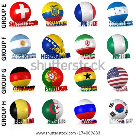 3D render of 16 of the world's greatest soccer nations competing in 2014. Part 2 of 2. - stock photo