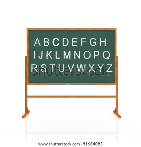 3d render of old school blackboard with alphabet isolated on white background - stock photo