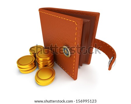 3d render of open brown leather wallet and coins over white background - stock photo