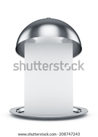 3d render of opened cloche with paper template, isolated on white background - stock photo