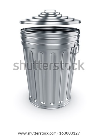 3d render of opened trash can isolated on white background - stock photo