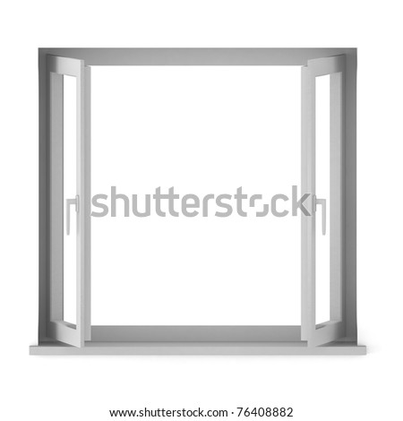 3d render of opened window - stock photo