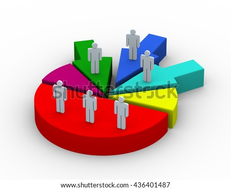 3d render of people on pie chart. Concept of companies and business joint venture, merge, alliance, acquisitions - stock photo