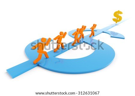 3d render of people running along a dollar symbol shaped path towards a dollar sign - stock photo