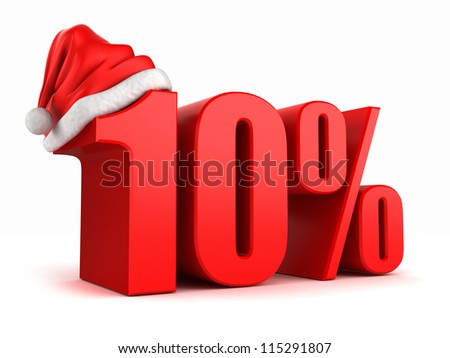 3d render of 10 percent with santa hat - stock photo