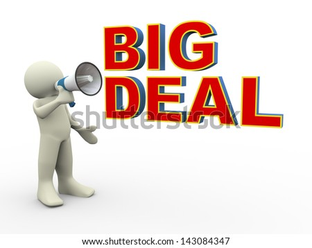 3d render of person announcing for big deal announcement using megaphone - stock photo