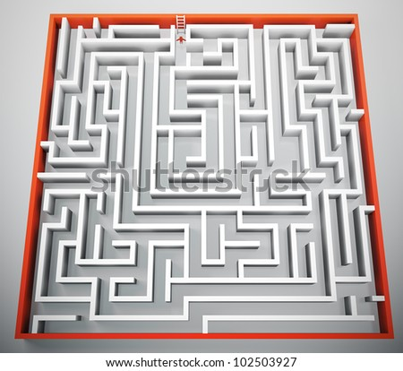 3D render of person trying to escape from maze - stock photo