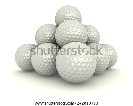 3d render of pile of golf balls over white background - stock photo