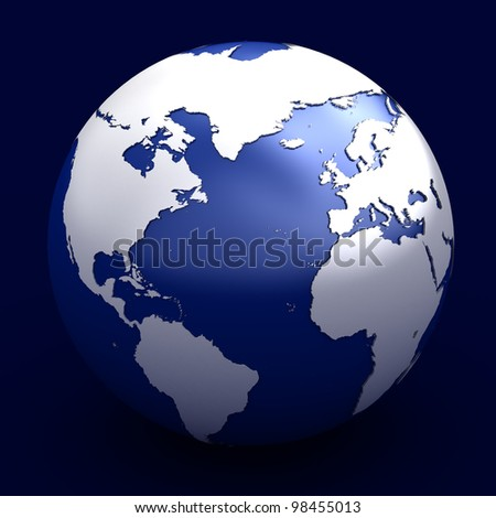 3D render of planet earth over white background - stock photo