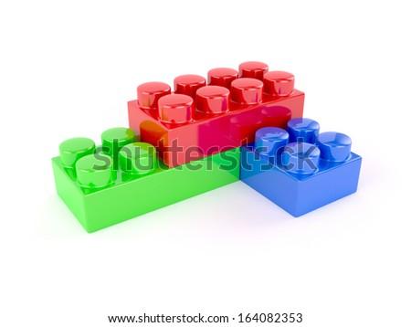 3d render of plastic toy blocks on white background - stock photo