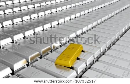 3d render of platinum ingots with one gold ingot - stock photo