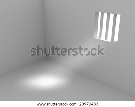 3d render of prison. Isolated on white background. - stock photo