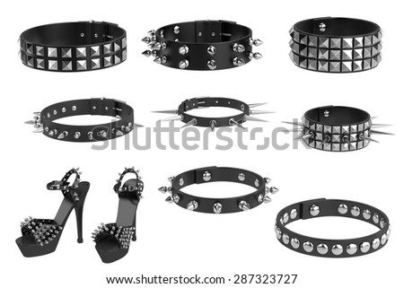 3d render of punk wear collection - stock photo