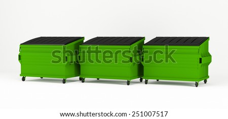 3d render of realistic green trash boxes. - stock photo