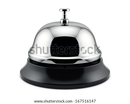 3d render of reception bell isolated on white background. Service concept - stock photo