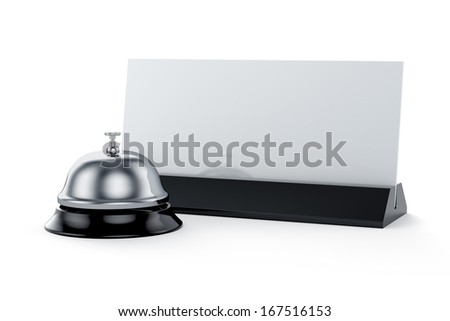 3d render of reception bell with card isolated on white background. Service concept - stock photo