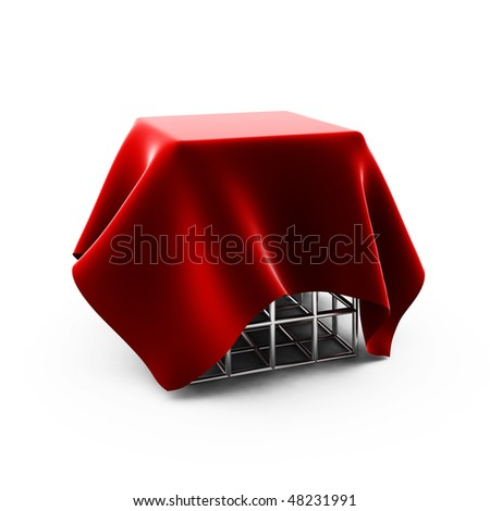 3d render of  red cloth on silver cage - stock photo