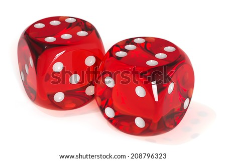 3d render of red dices isolated. Success concept  - stock photo