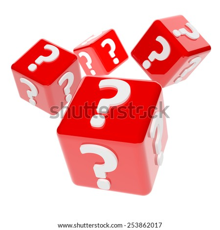 3d render of red dices marked with question marks - stock photo