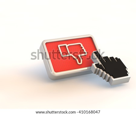 3d render of red dislike button with pixel hand cursor isolated on white background - stock photo