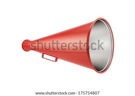 3d render of red megaphone isolated on white background - stock photo