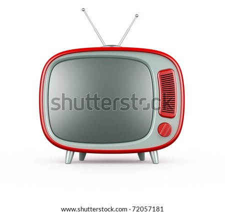 3d render of red retro TV on white background - stock photo