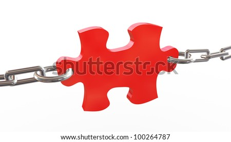 3d render of red tied puzzle piece - stock photo