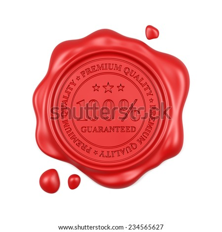 3d render of red wax seal 100 percent premium quality stamp isolated on white background - stock photo