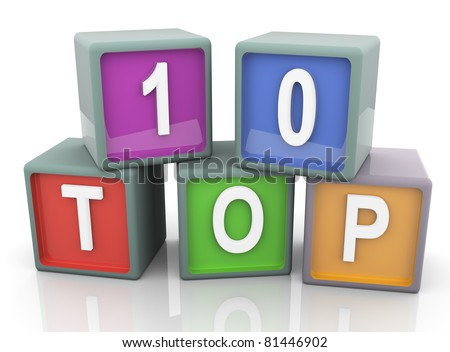 3d render of reflective colorful text 'top 10' - stock photo