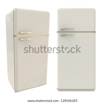 3d render of refrigerator on white background - stock photo