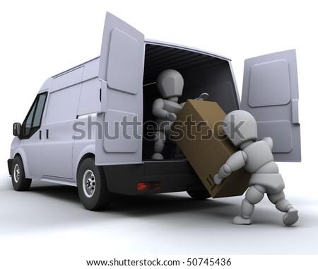 3D render of removal men loading a van - stock photo