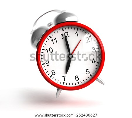 3d render of ringing red clock on white background - stock photo