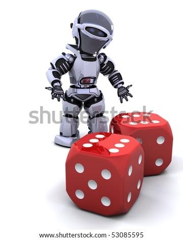 3D render of robot rolling casino dice - stock photo