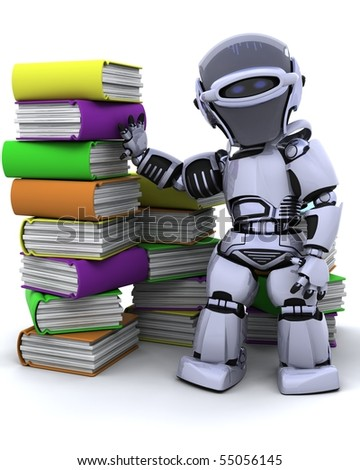 3D Render of robot with books - stock photo