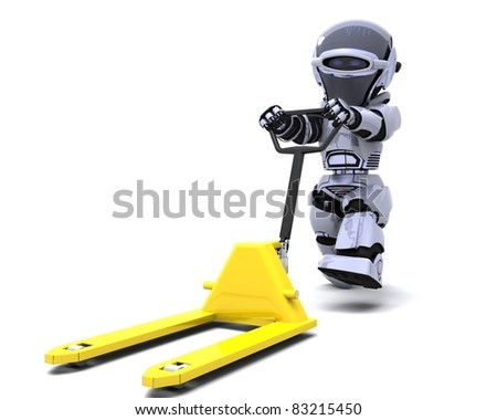 3D render of Robot with yellow pallet truck - stock photo